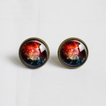 Vintage Style Dazzle Colour Universe Galaxy Glass Earrings.Stud Earrings.14mm. Universe Picture Personality Earrings.reddish nebula (ER16)