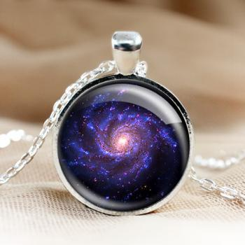 Universe Glass Pendant Necklace.Galaxy Pendant. Photo Pendants.Silver Jewelry.1 inch Round.Photo Necklace.glass jewelry.Glass Charm (HD17)
